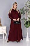 Kadın Büyük Beden Bordo Renk Kravat Yaka Detaylı Viskon Elbise