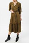 Kadın Truvakar Kol Belden Bağlamalı Elbise %100 Vıscon