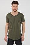 Erkek Koyu Haki Pis Yaka Salaş T-shirt-tcps001r67s
