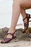 Hakiki Deri Kahve Twinkle Kadın Deri Sandalet DP-0067