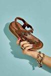 Hakiki Deri Vizon Kadın Sandalet K05809187203