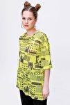 Kadın Sarı Gazete Baskılı Yırtmaçlı Kısa Kollu Tişört Y20s110-3124
