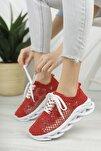 Kadın  Kırmızı Dantelli Bağcıklı Yumuşak Ortopedik Taban Sneaker