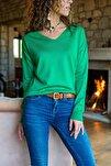 Kadın Yeşil V Yaka Basic Kazak GK-CCKYN1001