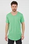 Erkek Cool Yeşili Pis Yaka Salaş T-shirt tcps001r66s