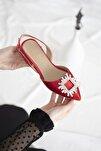 Kadın Kırmızı Loden Topuklu Taş Detay Saten Sandalet