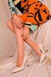 Bej Kapitone Kadın Klasik Topuklu Ayakkabı 15783