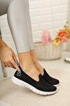 Kadın Siyah Beyaz Fileli Memory Foam Ayakkabı