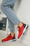Kadın Kırmızı Siyah Bağcıklı Sneaker Ayakkabı