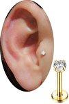 Gold Renkli Taşlı Tragus Helix Cerrahi Çelik Kulak Kıkırdak Piercing 8 mm
