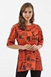 Kadın Turuncu Baskılı Yırtmaçlı Kısa Kollu Tişört Y20s110-3124