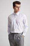 Erkek Beyaz Yaka Filketeli Zincirli Pamuk Gömlek - Slım Fıt