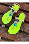 Rio Neon Sarı Kristal Cam Taş Detaylı Kadın Sandalet