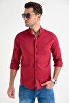 Erkek Bordo Hakim Yaka Çıtçıtlı Slim Fit Likralı Gömlek