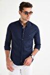 Erkek Lacivert Hakim Yaka Çıtçıtlı Slim Fit Likralı Gömlek