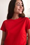 Kırmızı %100 Pamuk Süprem Bisiklet Yaka Crop Örme T-Shirt TWOSS20TS0135