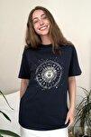 Lacivert Baskılı Boyfriend Örme T-Shirt TWOSS20TS0249