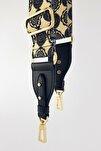 Haleh Siyah Deri Üçgen Uç Detaylı Etnik Desenli Çanta Askısı Gold Metal