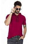 Erkek Bordo Kapüşonlu Pamuklu Slim Fit Basic T Shirt 5412021