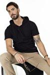 Erkek Siyah Kapüşonlu Pamuklu Slim Fit Basic T Shirt 5412021