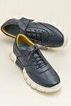 RAJU Hakiki Deri Lacıvert Erkek Ayakkabı