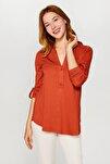 Kadın Kiremit Kaçık Yaka Uzun Kollu T-Shirt 60023 U60023
