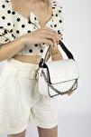 Aynı Butikte 2. Ürün 1 TL Beyaz Kroko Kadın Kapaklı Zincirli Çapraz Çanta