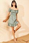 Kadın Yeşil Gipeli İp Askılı Küçük Çiçek Desenli Elbise 10091046