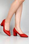 Kırmızı Krako Kadın Klasik Topuklu Ayakkabı 38918