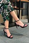 Kadın Siyah Tek Bant Topuklu Sandalet