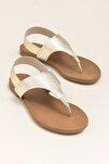ERTHA Hakiki Deri Altın Rengi Kadın Sandalet