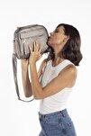 Aynı Butikte 2.Ürün 1 TL Gümüş Kadın Çok Bölmeli Omuz Çantası Çapraz Çanta ve El Çantası