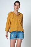 Kadın Hardal Kapşonlu Coton Gömlek