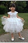 Kız Çoçuk Beyaz Pullu Doğum Günü Abiye Tüllü Elbise
