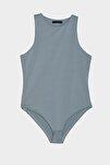 Mavi Çıtçıtlı Örme Body TWOSS20BD0044