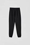Kadın Siyah Elastik Paçalı Jogging Fit Pantolon 09672315
