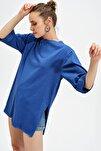 Kadın Saks Bisklet Yaka Boyfrıend Double Kol Yırtmaçlı T-shirt ALC-X3200