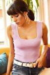 Kadın Lila Kalın Askılı Yazlık Triko Bluz BLZ-19000853