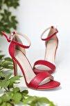 Kadın Kırmızı Renk Deri Tek Bant Sandalet