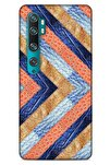 Xiaomi Mi Note 10 Pro Kılıf Patchwork (3) Kapak Lacivert Turuncu