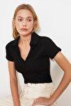 Siyah Düğme Detaylı Çıtçıtlı Örme Body TWOSS21BD0004