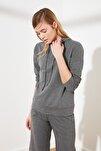 Antrasit Kapüşonlu Basic Örme Sweatshirt TWOAW20SW0059