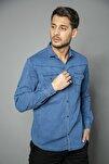 Mavi Cepli Kot Gömlek Slim Fit