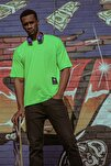 Yeşil Yanı Fermuarlı Oversize T-shirt 1kxe1-44586-08
