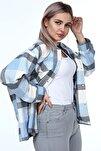 Kadın Cep Detaylı Oduncu Gömlek Ceket Büyük Beden