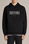 Erkek  Days Gone Logo Baskılı Siyah Örme Kapşonlu Sweatshirt Uzun Kol