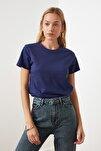 Lacivert %100 Pamuk Bisiklet Yaka Basic Örme T-Shirt TWOSS20TS0133
