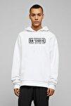 Erkek Days Gone Logo Baskılı Beyaz Örme Kapüşonlu Uzun Kol Sweatshirt