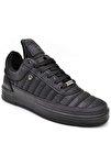 07 Siyah Siyah Dikişli Taban Unisex Spor Ayakkabı