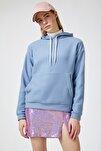 Kadın İndigo Kapüşonlu Kışlık Polar Sweatshirt ZV00047
